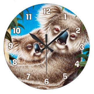 Koala und Baby-Wanduhr Große Wanduhr
