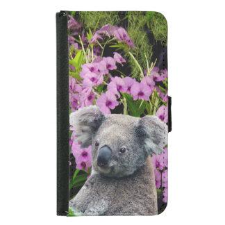 Koala und Orchideen Geldbeutel Hülle Für Das Samsung Galaxy S5