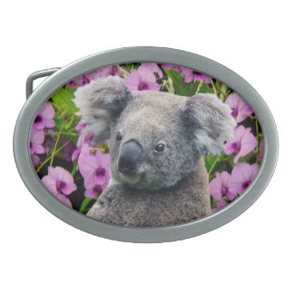 Koala und Orchideen Ovale Gürtelschnallen