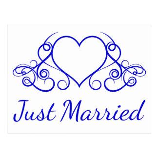 Kobalt-Blau-gerade verheiratete Postkarte