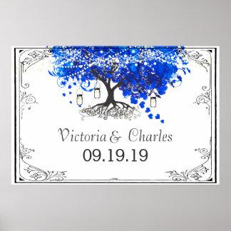 Kobalt-Blau-Herz-Blatt-Baum-Hochzeit Poster