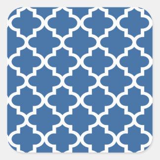 Kobalt-Blau-marokkanisches Fliesen-Gitter Quadratischer Aufkleber