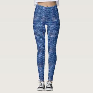 Kobalt-Blau-Metallkettenhemd-metallisches Leggings