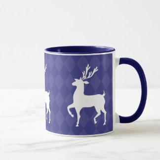 Kobalt-Blau-Ren-WeihnachtsTasse Tasse