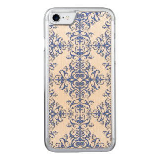 Kobalt-Blau-und weißesblumendamast-Art-Muster Carved iPhone 8/7 Hülle