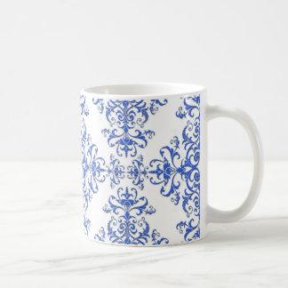 Kobalt-Blau-und weißesblumendamast-Art-Muster Kaffeetasse