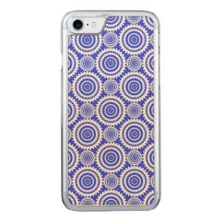 Kobalt-Blau-und weißesgeometrisches Kreis-Muster Carved iPhone 8/7 Hülle