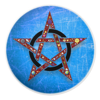 Kobalt-Blau Wiccan oder heidnischer Stern-Griff Keramikknauf