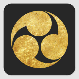 Kobayakawa Montag japanisches Clan-Imitatgold auf Quadratischer Aufkleber