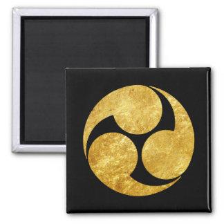 Kobayakawa Montag japanisches Clan-Imitatgold auf Quadratischer Magnet