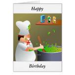 Koch bei der Arbeit, glücklich, Geburtstag Karte