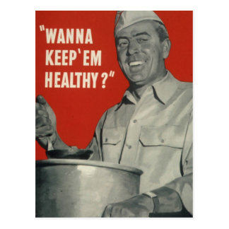 Koch gesund - Vintager Cartoon Postkarte