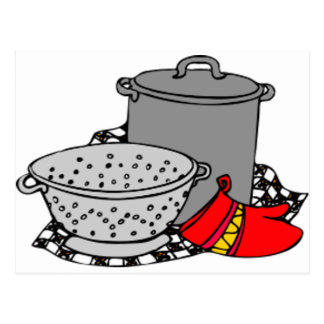 Kochen des Topfes u. des Siebs Postkarte