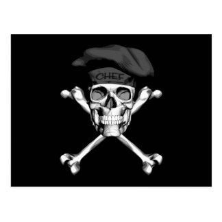 Kochs-Schädel-gekreuzte Knochen: Schwarzes Postkarte