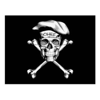 Kochs-Schädel-gekreuzte Knochen: Weiß Postkarte