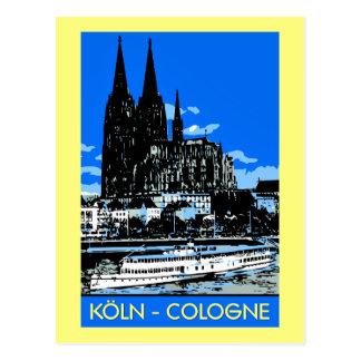 Koeln Köln retro Vintage Art-Reiseanzeige Postkarte
