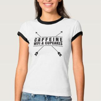 Koffein Wifi und kleine Kuchen T-Shirt