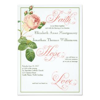 Kohl-Rosen-christliche Hochzeits-Einladung Karte