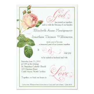 Kohl-Rosen-Gott ist Liebe-Wedding Einladung