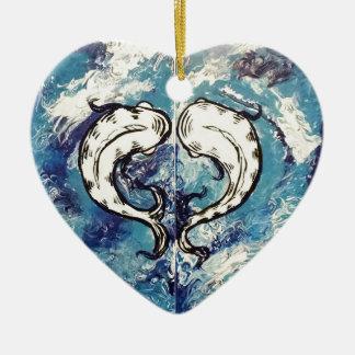 koi an Spiel 2 Keramik Herz-Ornament