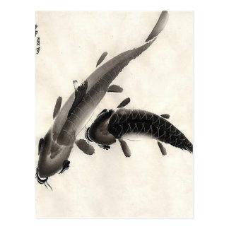 Koi Fisch-Aquarell Postkarte