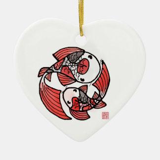 Koi Fisch-Keramik-Verzierung Keramik Herz-Ornament
