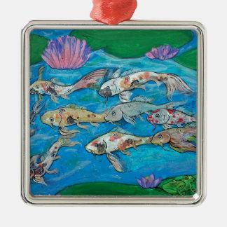 Koi Fisch-persönlicher Zen-Wasser-Garten Silbernes Ornament