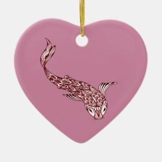 Koi Fische Keramik Herz-Ornament