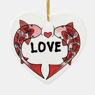 Koi Fische mit LIEBE Wort-Keramik-Verzierung Keramik Herz-Ornament
