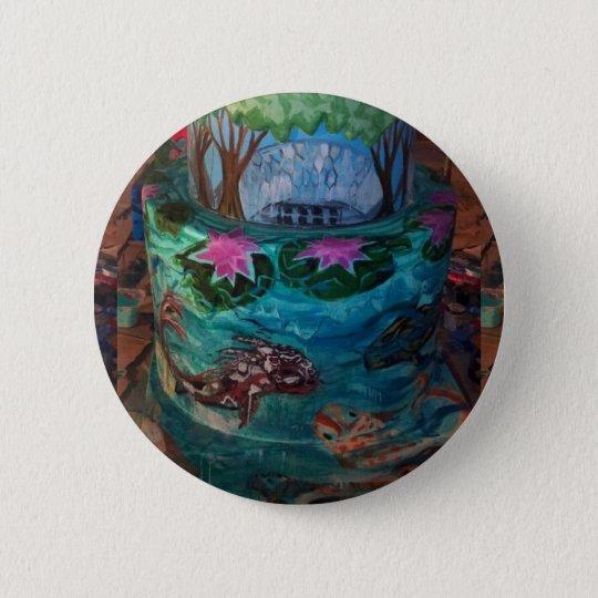 Koi Fischfrikadelle an botanischem Garten Runder Button 5,7 Cm