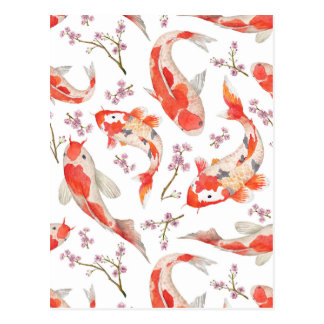 Koi Kirschblüten-Muster Postkarte
