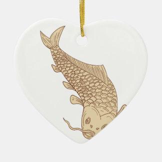 Koi Nishikigoi Karpfen, der hinunter das Zeichnen Keramik Herz-Ornament