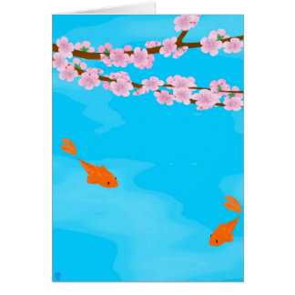 Koi und Kirschblüte-Gruß-Karte Karte