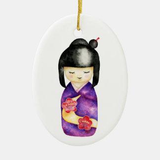 Kokeshi Aquarell-Malerei Keramik Ornament