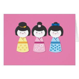 Kokeshi Mädchen Karte