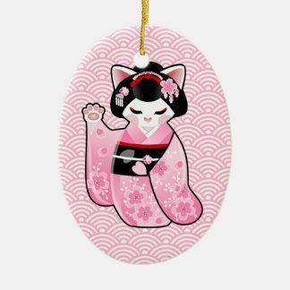 Kokeshi Maneki Neko japanische glückliche Katze Keramik Ornament