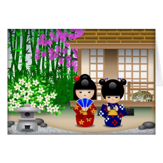 Kokeshi Puppen und Teehaus Grußkarte