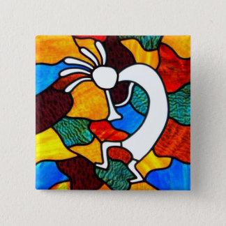 Kokopelli Buntglas Quadratischer Button 5,1 Cm