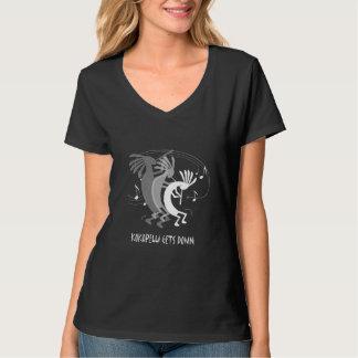 Kokopelli erhält hinunter Damen-schwarzen T - T-Shirt