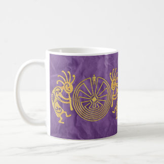 KOKOPELLI/MANN IM LABYRINTH-Gold + Ihre Ideen Kaffeetasse