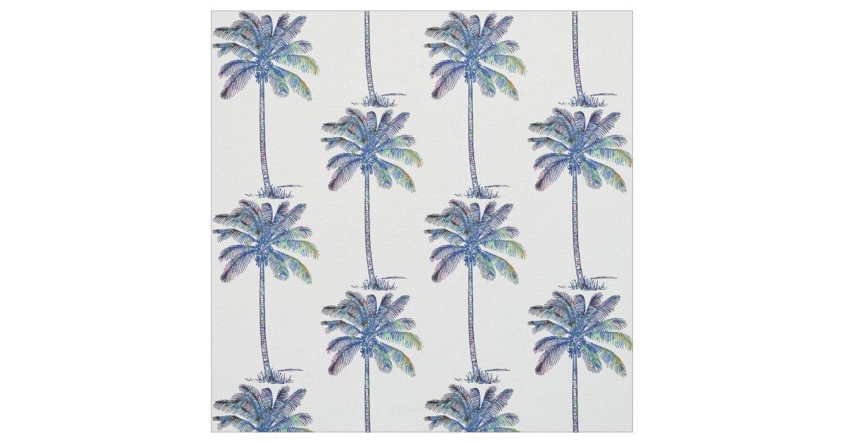 Kokosnuss-Palme-Muster farbiges Bleistift-Zeichnen Stoff | Zazzle.ch