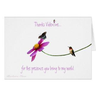 """Kolibri: Dank für Ihren """"Anwesenheit"""" Valentine. Karte"""
