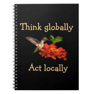 Kolibri denken global Taten-am Ort Notizbuch Notizblock
