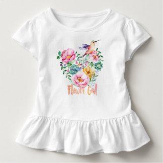 Kolibri-Herz-Blumenstrauß-Blumen-Mädchen Kleinkind T-shirt