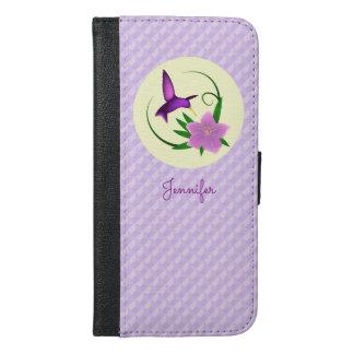 Kolibri mit rosa Blume iPhone 6/6s Plus Geldbeutel Hülle