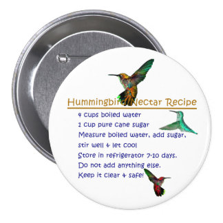 Kolibri-Nektar-Rezept Runder Button 7,6 Cm