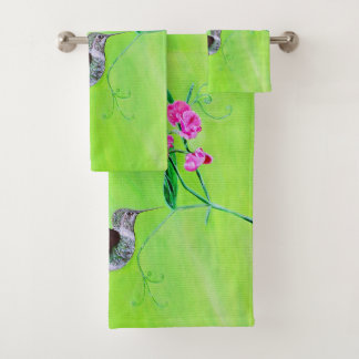 Kolibri u. süße Erbsen Badhandtuch Set
