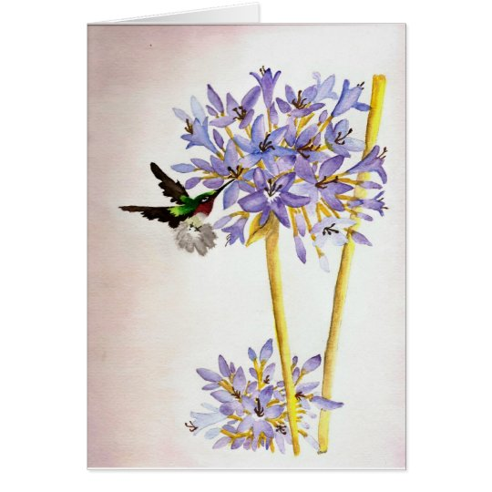 Kolibri und Blumen Karte