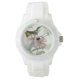 Kolibri-Vogel-Tier-BlumenBlumen-Uhr Armbanduhr