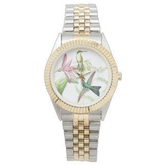 Kolibri-Vogel-Tier-BlumenBlumen-Uhr Uhr